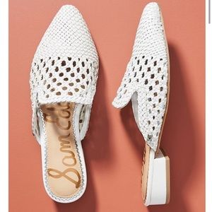 Sam Edelman White Woven Leather mule flats 6